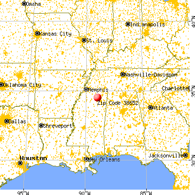 New Albany, MS (38652) map from a distance