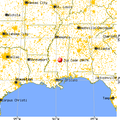 Forest, MS (39074) map from a distance