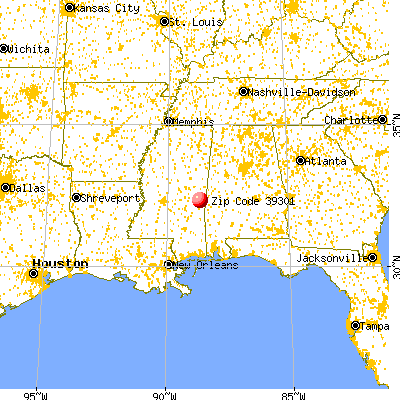 Meridian, MS (39301) map from a distance