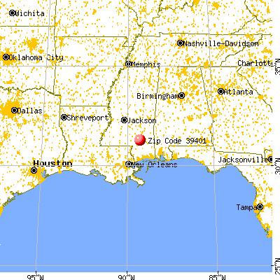 Hattiesburg, MS (39401) map from a distance