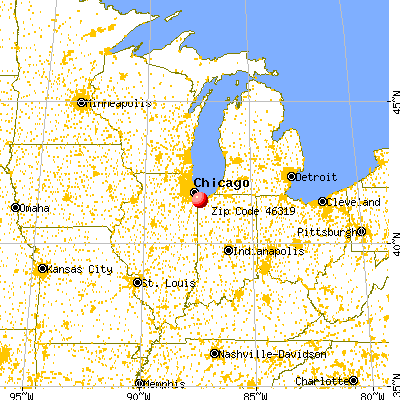 Griffith, IN (46319) map from a distance