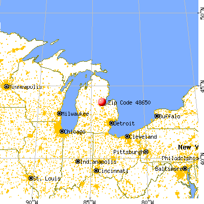 Pinconning, MI (48650) map from a distance