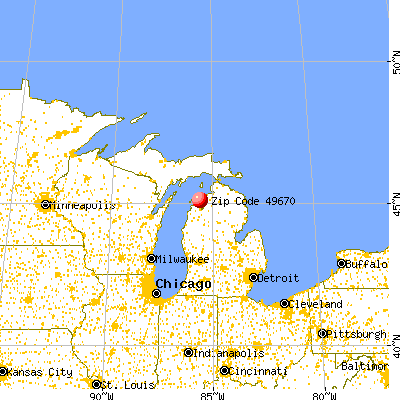 Omena, MI (49670) map from a distance