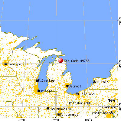 Onaway, MI (49765) map from a distance