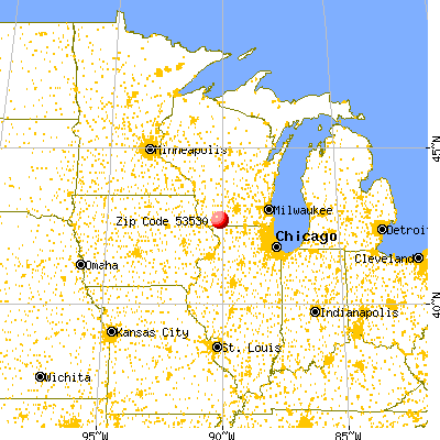 Darlington, WI (53530) map from a distance