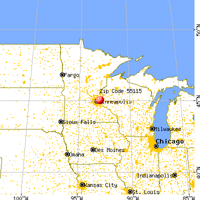 Mahtomedi, MN (55115) map from a distance