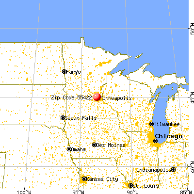 Golden Valley, MN (55422) map from a distance