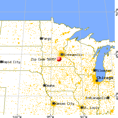 Le Center, MN (56057) map from a distance