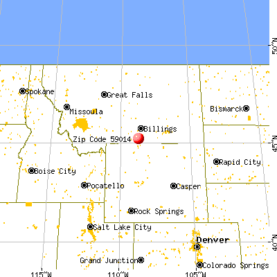 Bridger, MT (59014) map from a distance