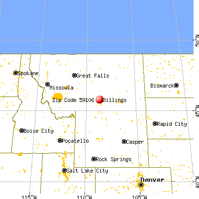 Billings, MT (59106) map from a distance
