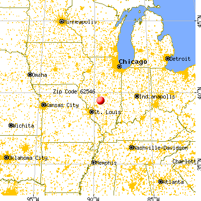 Morrisonville, IL (62546) map from a distance