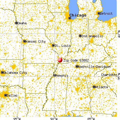 Wyatt, MO (63882) map from a distance