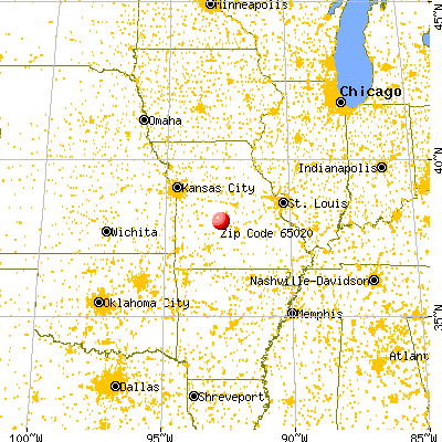 Camdenton, MO (65020) map from a distance