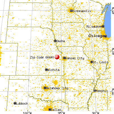 Hoyt, KS (66440) map from a distance