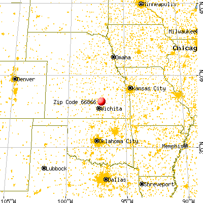 Peabody, KS (66866) map from a distance