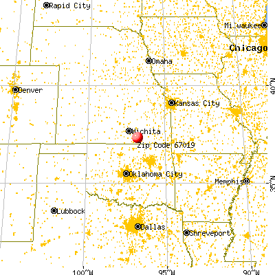Burden, KS (67019) map from a distance