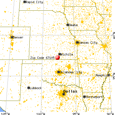 Milan, KS (67105) map from a distance