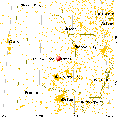 Wichita, KS (67207) map from a distance
