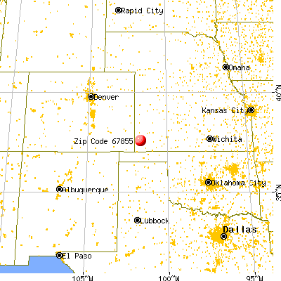 Johnson City, KS (67855) map from a distance