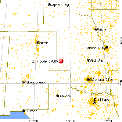 Ulysses, KS (67880) map from a distance