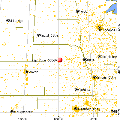 Oconto, NE (68860) map from a distance