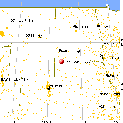 Chadron, NE (69337) map from a distance