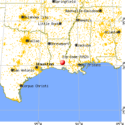 Carencro, LA (70520) map from a distance