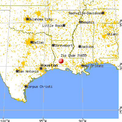 Oberlin, LA (70655) map from a distance