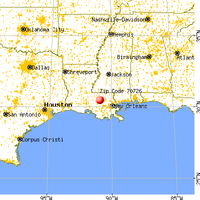 Denham Springs, LA (70726) map from a distance