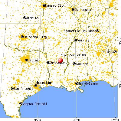Sterlington, LA (71280) map from a distance