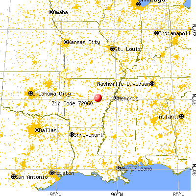 Griffithville, AR (72060) map from a distance