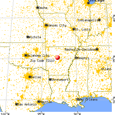 Morrilton, AR (72110) map from a distance