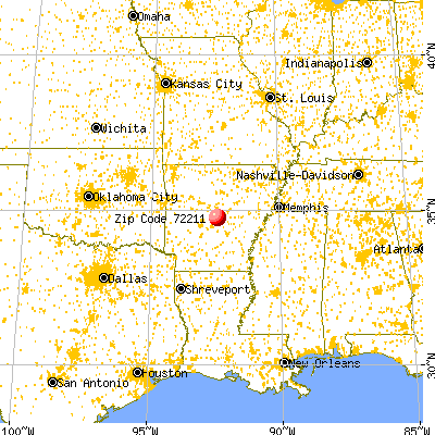 Little Rock, AR (72211) map from a distance
