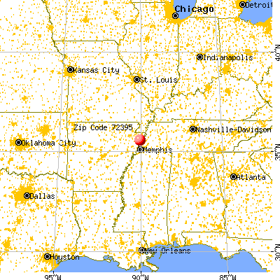 Wilson, AR (72395) map from a distance