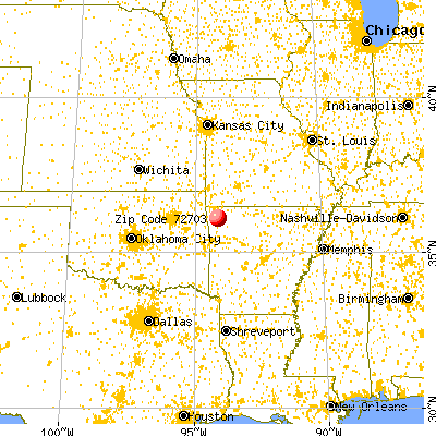Fayetteville, AR (72703) map from a distance