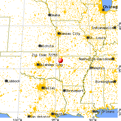 Prairie Grove, AR (72753) map from a distance