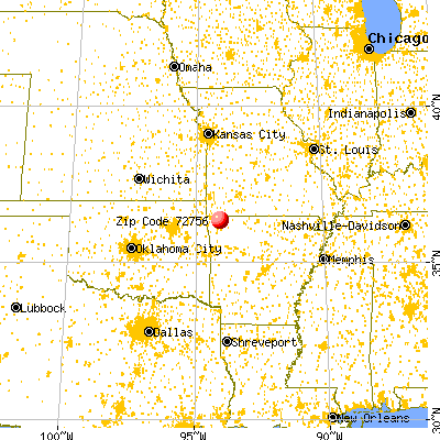Rogers, AR (72756) map from a distance