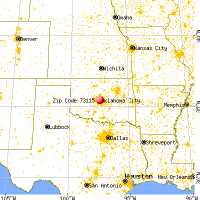 Del City, OK (73115) map from a distance