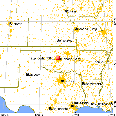 Oklahoma City, OK (73151) map from a distance