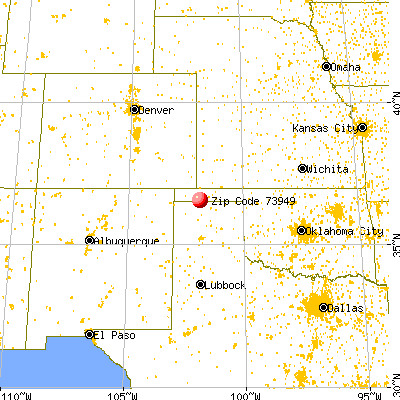 Texhoma, TX (73949) map from a distance