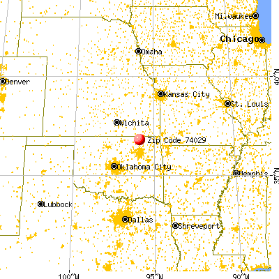 Dewey, OK (74029) map from a distance