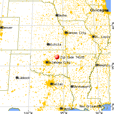 Tulsa, OK (74105) map from a distance