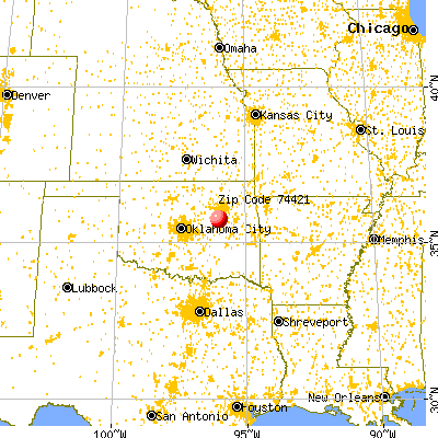 Winchester, OK (74421) map from a distance