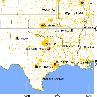 Corsicana, TX (75110) map from a distance