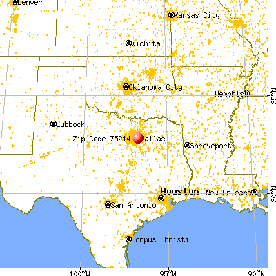 Dallas, TX (75214) map from a distance