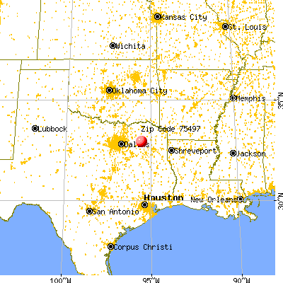 Yantis, TX (75497) map from a distance