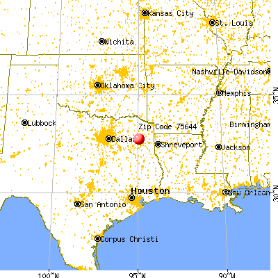 Gilmer, TX (75644) map from a distance