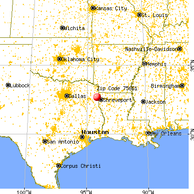 Uncertain, TX (75661) map from a distance
