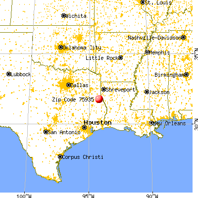 Center, TX (75935) map from a distance
