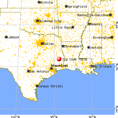Colmesneil, TX (75938) map from a distance